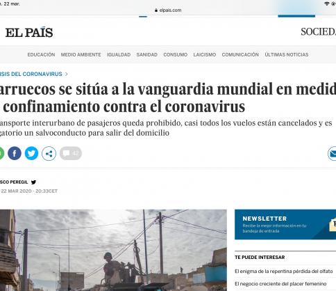 """""""إلباييس""""الإسبانية تشيد بالمغرب وقراراته الوقائية والاحترازية في مواجهة كورونا"""