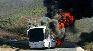النيران تلتهم حافلة للركاب بين سيدي إيفني وكلميم