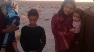 إعتصام اسرة صحراوية بميجك أمام مقر بعثة المينورسو.