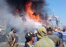 إندلاع النار بباخرة للصيد بميناء طانطان.