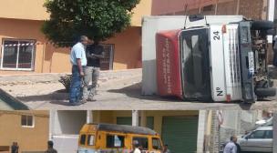 انقلاب شاحنة يخلف أربعة جرحى من بينهم تلميذين