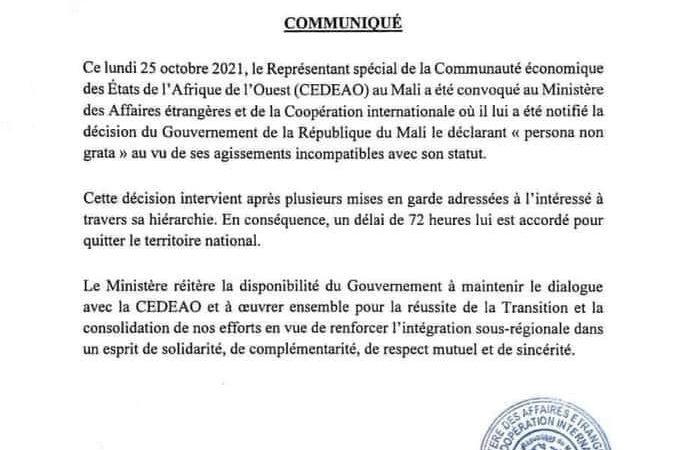 """ممثل """"الإيكواس"""" مطالب بمغادرة مالي"""